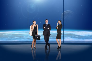 Business people in front of the window