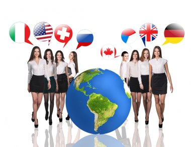 Business women near big earth and flag bubbles.Elements of this image furnished by NASA stock vector