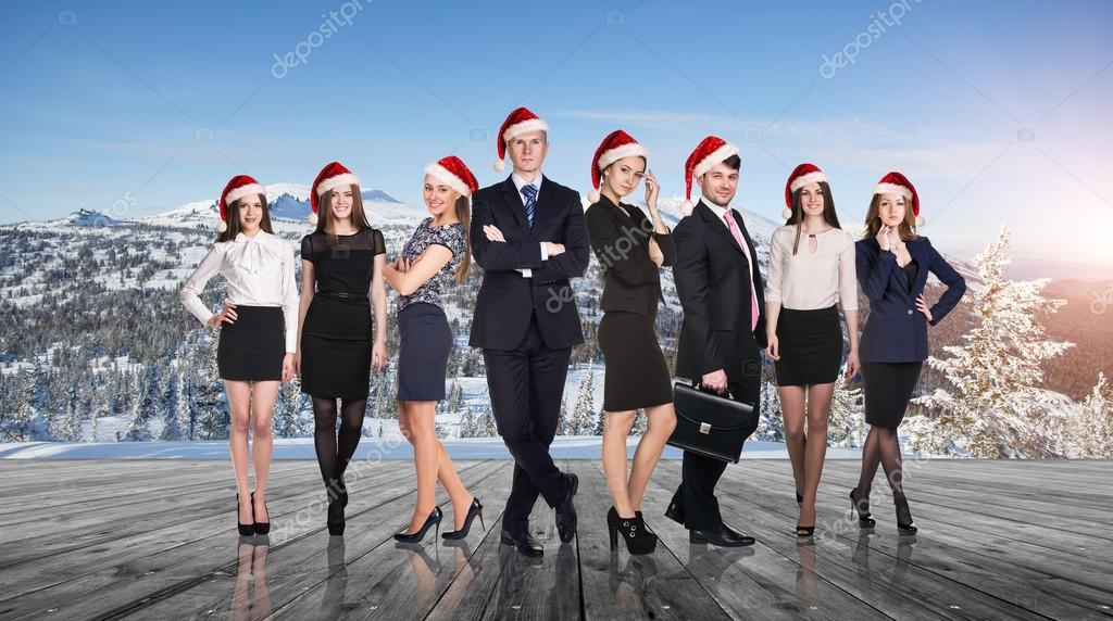 Business people selebrating christmas corporate