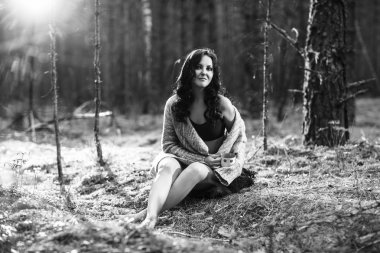 Mysterious woman in the forest