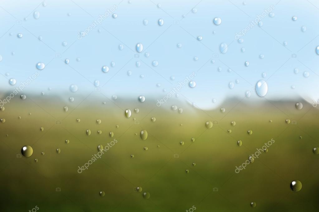Nature through window with rain drops.