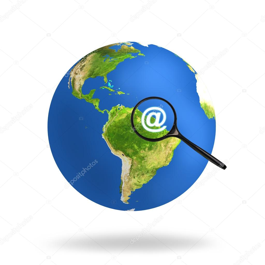 Colorful earth with magnifying glass.