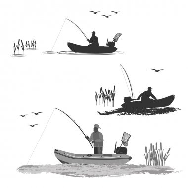 Download Fisherman In Boat Free Vector Eps Cdr Ai Svg Vector Illustration Graphic Art