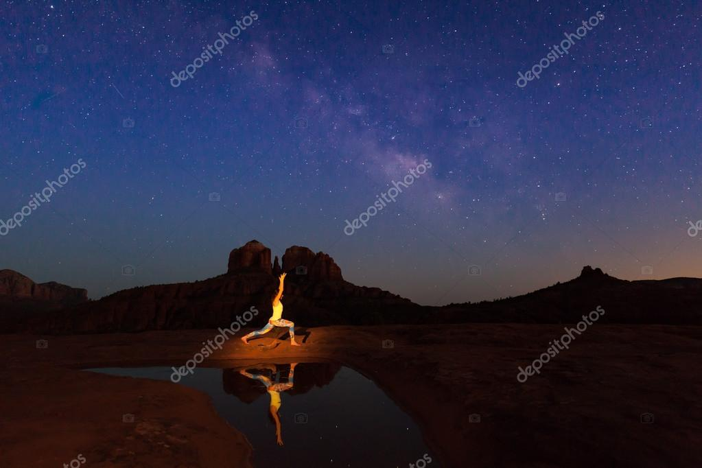 Cathedral Rock Yoga Under the Milky Way