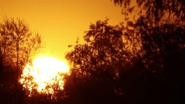 Krásný východ slunce a rudá obloha. Časová prodleva