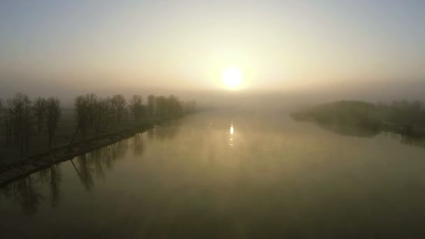 mystical river at sunrise with fog.  Aerial