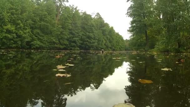 Podzimní krajina s jezerem a odrazy