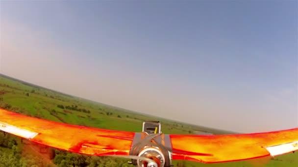 Plane  drone flight over river. POV  clip