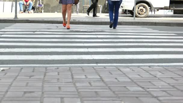 Város jelenet homályos emberek, lassú mozgás.