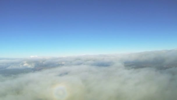 Flight  over clouds at  height of 2000 meters. Aerial shot from radio-controlled  drone