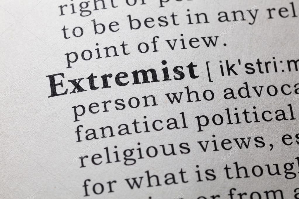 Definition Of Extremist U2014 Stock Photo