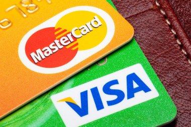 Closeup of Visa and Mastercard credit cards.