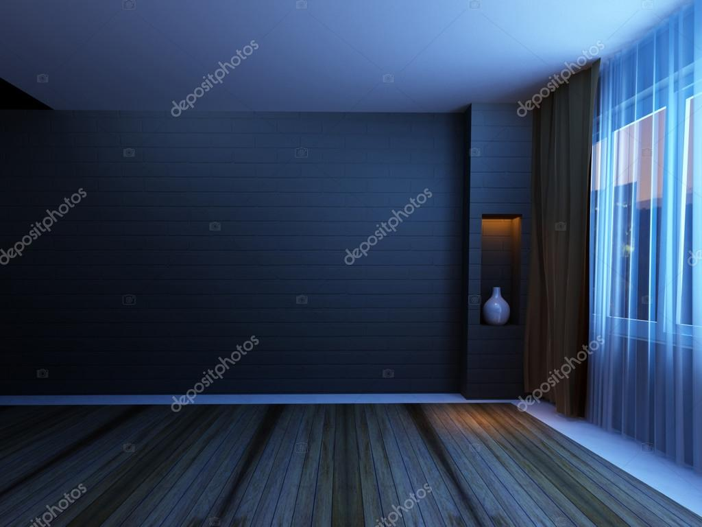 Empty Room In The Night Stock Photo