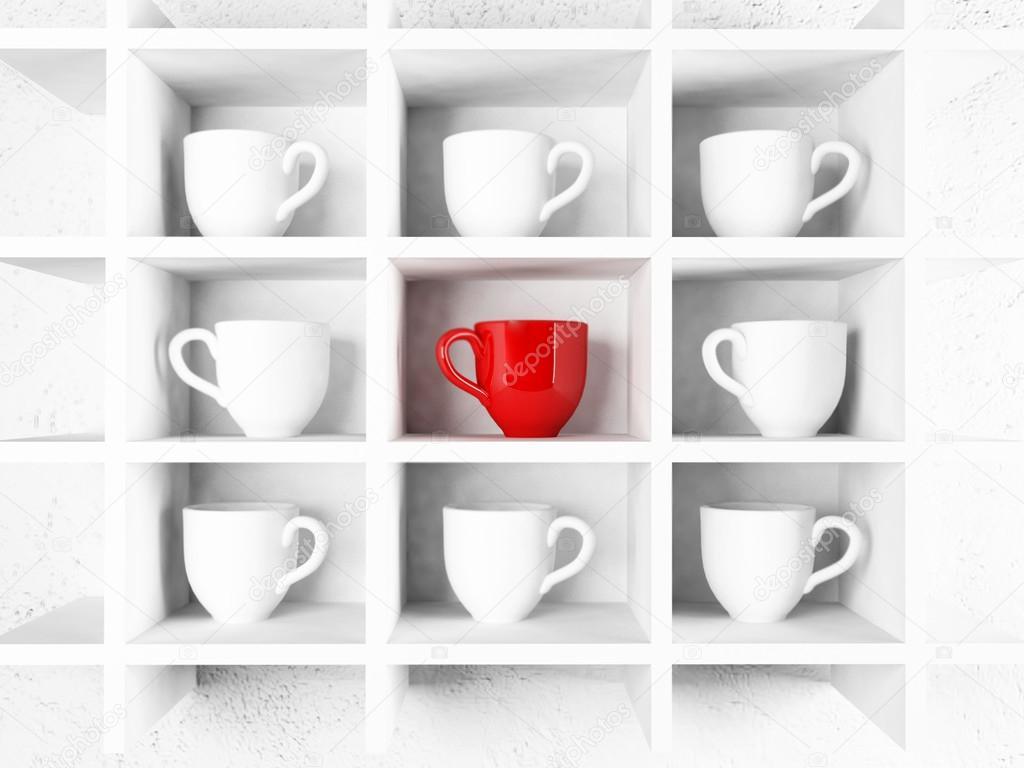 viele wei e tassen und eine rote tasse auf dem regal stockfoto minerva86 63264275. Black Bedroom Furniture Sets. Home Design Ideas