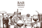 Fotografie hand drawn drinks illustration