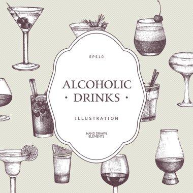 hand drawn alcoholic drinks illustration