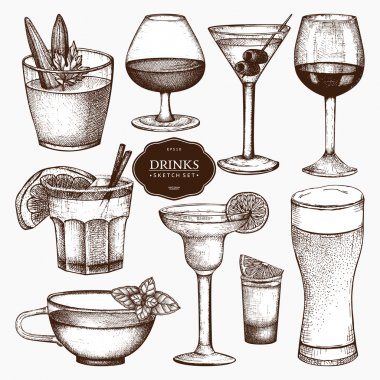 hand drawn alcoholic drinks illustration