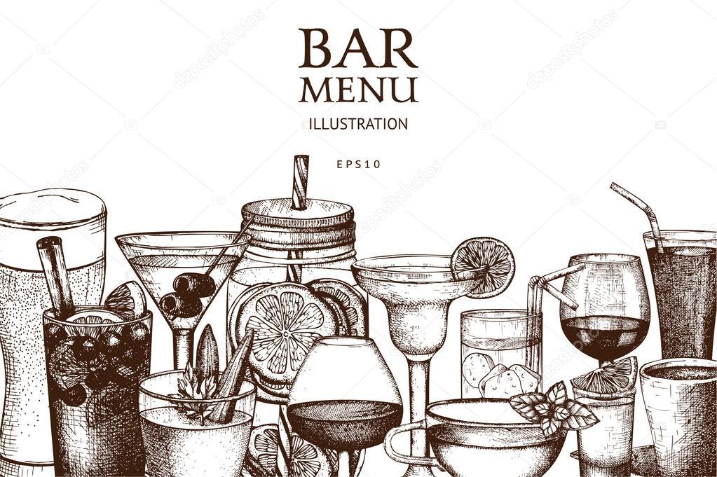 hand drawn drinks illustration