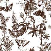 Fotografie Pattern with poisonous flowers and butterflies