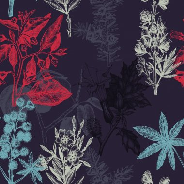 Botanical pattern with poisonous flowers