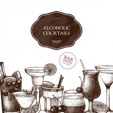 Retro alcoholic cocktails template