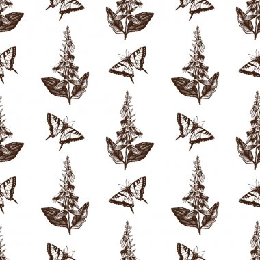 Pattern with Machaon butterflies and Foxglove flowers