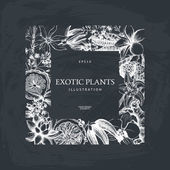 Fényképek tinta kézzel rajzolt egzotikus növények