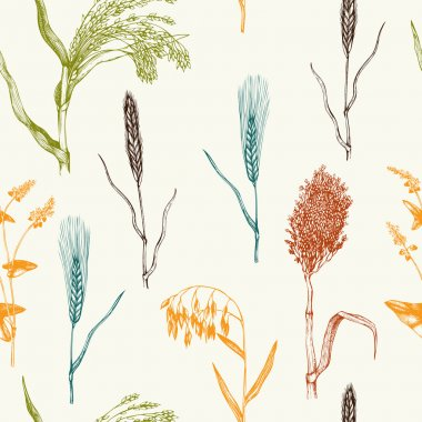 seamless pattern with crops sketches