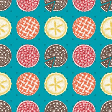 Traditional american cakes seamless pattern