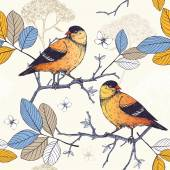 Photo Seamless pattern with birds