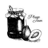 Photo Plum jam jar