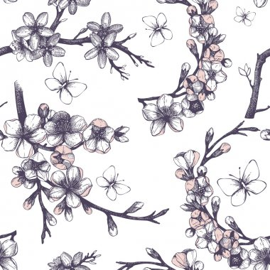 Seamless pattern with blooming tree twigs