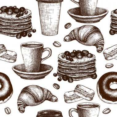 Seamless pattern with breakfast illustration