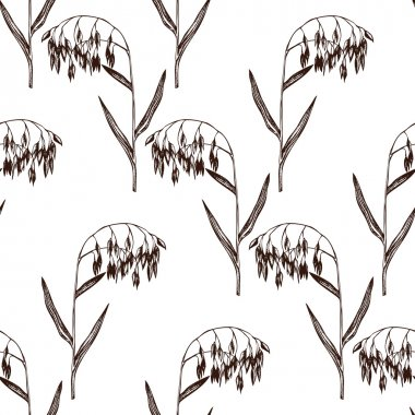 Seamless pattern with oats