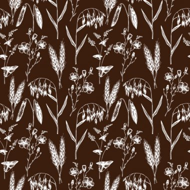 Seamless pattern with agriculture plants