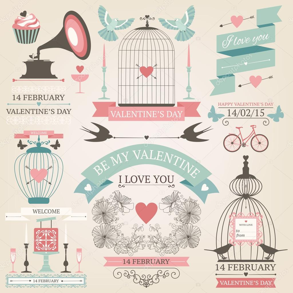 Vintage Valentine S Day Collection Stock Vector C Geraria 66097905