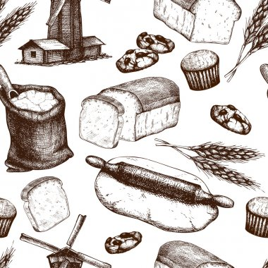 Vintage bakery sketch background