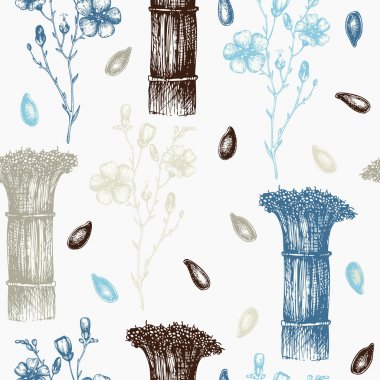 Background with flax flower sketch