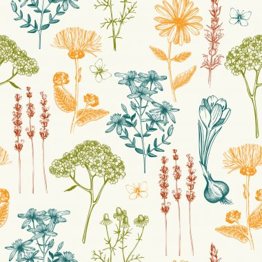 Seamless herbal background