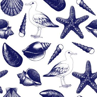 sea shells and sea gulls sketch