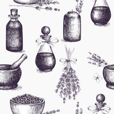 ink hand drawn lavender illustration