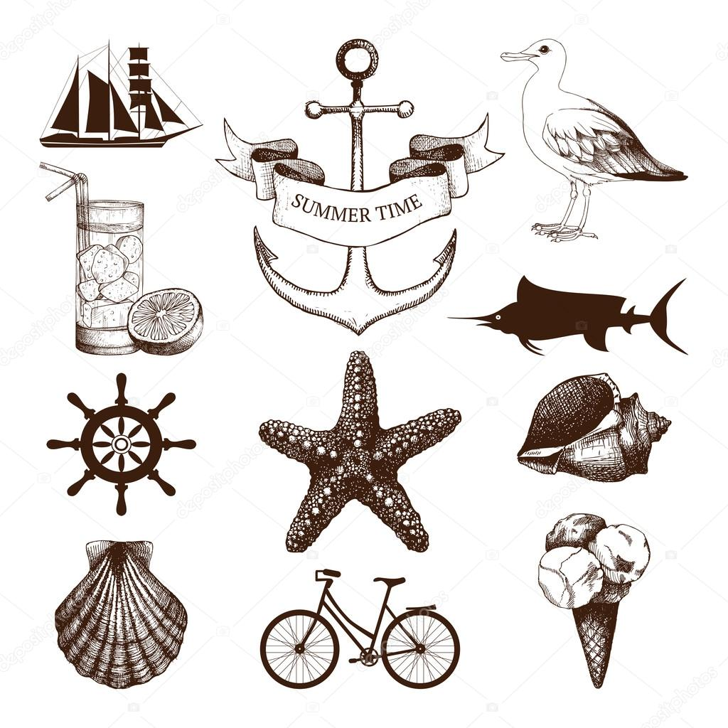 set of decorative sea elements