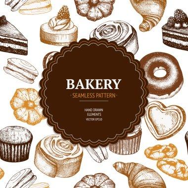 Vintage bakery sketch background