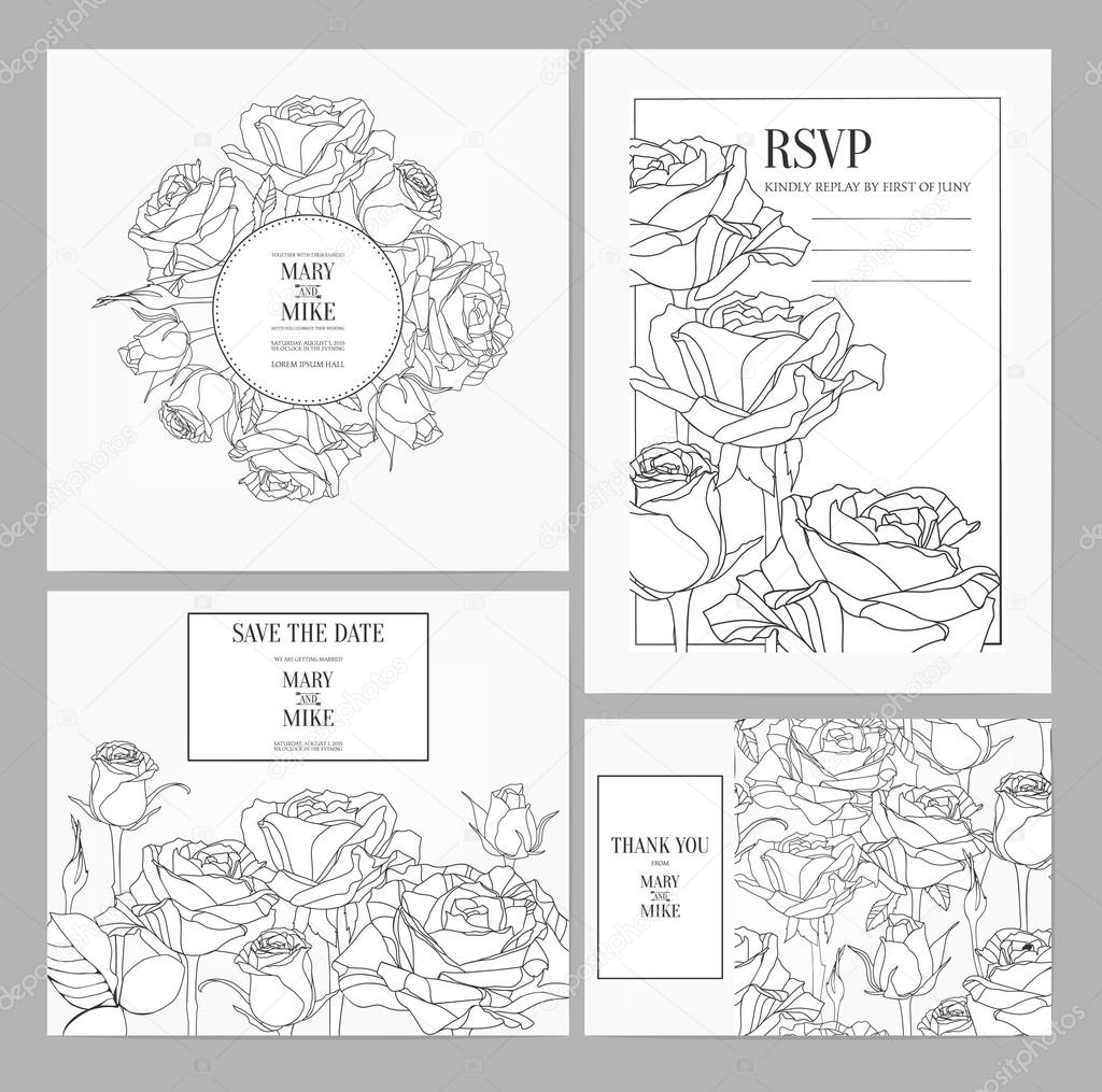 Invitation Card Design With Roses Stock Vector Geraria
