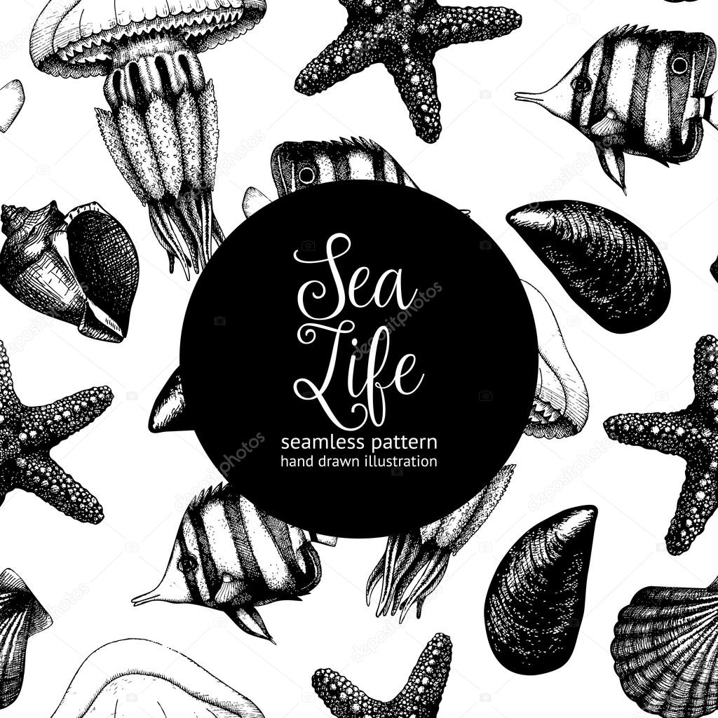 Pattern with fishes, sea shells, sea stars and jellyfishes sketches