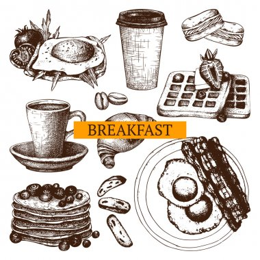 Hand drawn food for breakfast menu