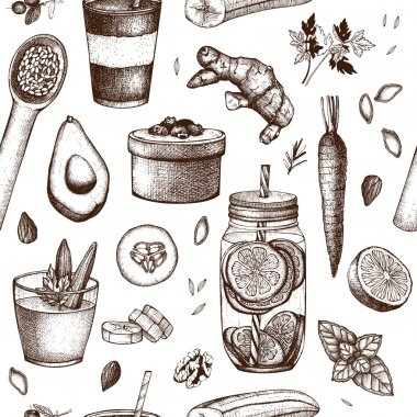 Seamless pattern with diet elements sketch