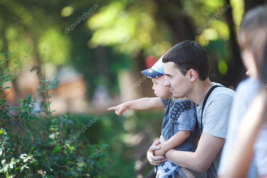 Happy dad with baby for a walk