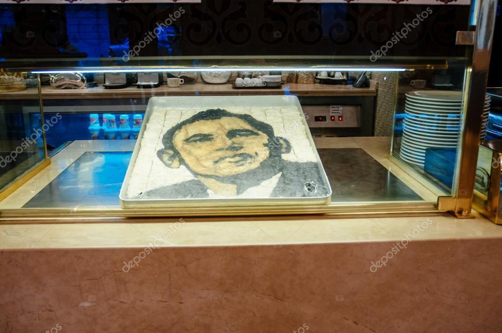 Barack Obama face made from Turkish Baklav