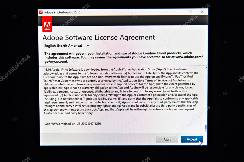 Adobe Software License Agreement During Install Stock Editorial